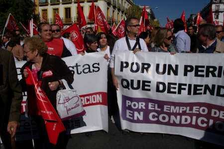 Seville, Spain, 14 November 2012.- Journalists at the demonstration in the General strike 27
