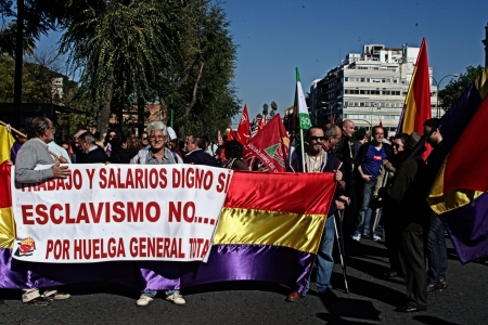 Seville, Spain, 14 November 2012.- Protesters at the demonstration in the General strike 19