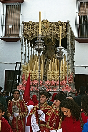 carmona: Carmona, Seville., Spain.- 27th March 2013.- Holy week procession.- Float and penitent 29