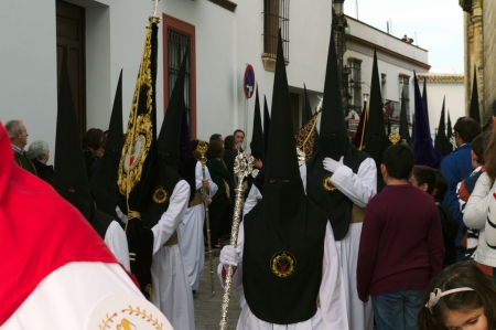 carmona: Carmona, Seville., Spain.- 30th March 2013.- Holy week procession.-Penitents 86 Editorial