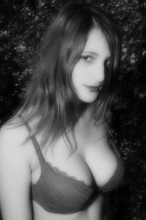 busty bra: Portrait in grey   Stock Photo