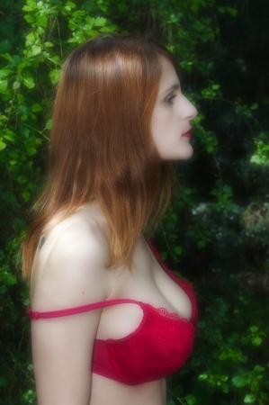 busty bra: Bare shoulder in bra