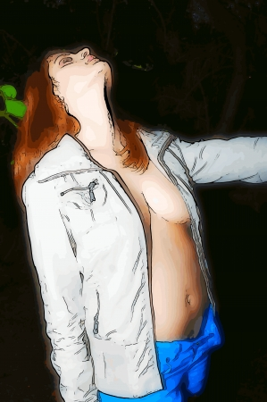 busty: Open jacket