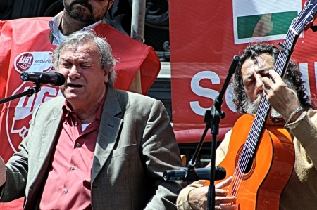 political rally: Spain, Seville, 1st May, 2013: Labour Day. Flamenco singer at a political rally 19