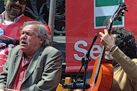 political rally: Spain, Seville, 1st May, 2013: Labour Day. Flamenco singer at a political rally 18