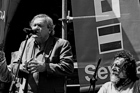 political rally: Spain, Seville, 1st May, 2013: Labour Day. Flamenco singer at a political rally 17