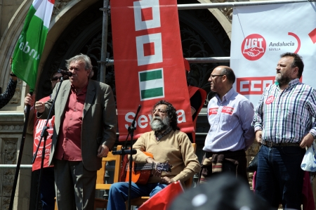 political rally: Spain, Seville, 1st May, 2013: Labour Day. Flamenco singer at a political rally 15 Editorial