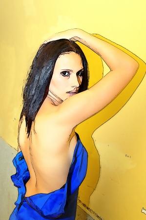 woman back of head: Bare indietro 91 Vettoriali