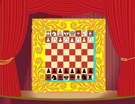 Chess set on the stage Vector