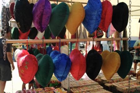 sain: Hats in a street market
