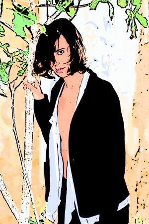 busty: Open shirt and jacket 180 Illustration