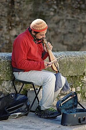 Granada  Spain   19th February 2014 - Muslim street musician playing the �rabel�