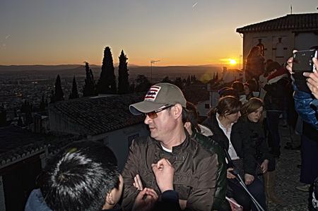 Granada  Spain   19th February 2014 - Sunset in Saint Nicholas square