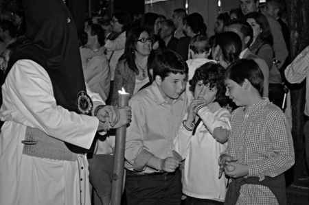 brotherhood: Carmona  Sevilla  Spain 13th April 2014 Procession of the Holy Week 57  Saint Philip brotherhood  Children asking for wax