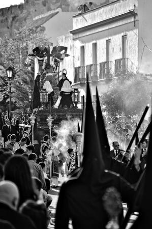 carmona: Carmona  Seville  Spain, 16th April 2014  Holy Week celebrations  Saint Francis brotherhood procession 42