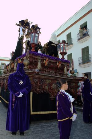 carmona: Carmona  Seville  Spain, 16th April 2014  Holy Week celebbrations  Saint Francis brotherhood procession 23