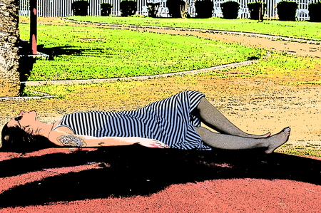 lie down: Lying down on the ground Illustration