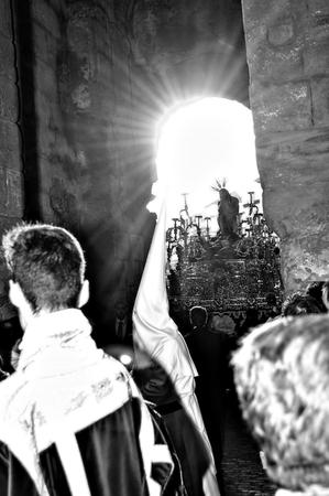 carmona: Carmona  Seville  Spain 18th April 2014  Penitents in white 11