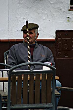 huelva: Fuenteheridos, Huelva, 22 November, 2014.- Old man with a stick