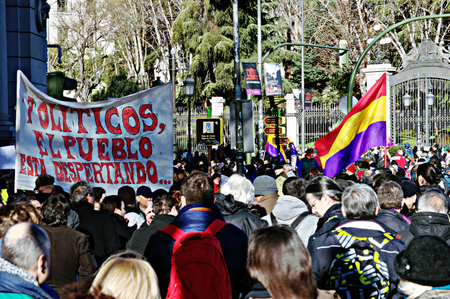 behalf: Madrid 31 January 2015 - Demonstration on behalf of ?PODEMOS?, the new left party