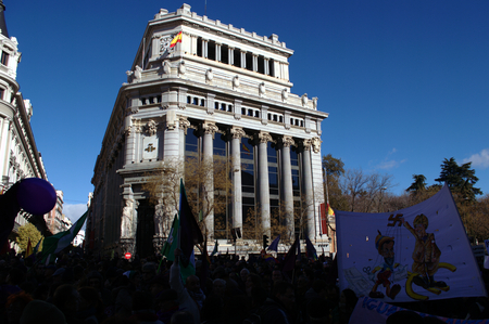 behalf: Madrid 31 January 2015 - Demonstration on behalf of PODEMOS, the new left party- Editorial