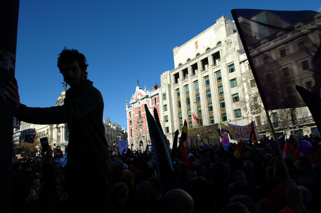 Madrid 31 January 2015 - Demonstration on behalf of PODEMOS, the new left party- Editorial