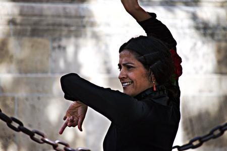 Seville, 15th February 2005 - Urban life - Flamenco dancer in the street