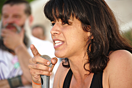 carmona: Carmona Sevilla 21st May 2015: Elecoral Camaign: Teresa Rodriguez a member of the Andalusian parlament during her intervention Editorial