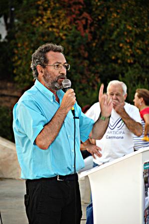 carmona: Carmona Sevilla 21st May 2015: Elecoral Camaign:  Jose Larios a polirticial from EQUO the green party Editorial