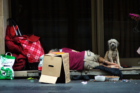 cardbox: Seville Spain 20th June 2015  Urban life Homeless sleeping in the street