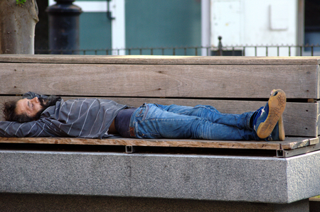 Seville Spain 20th June 2015  Urban life  Homeless sleeping Editorial