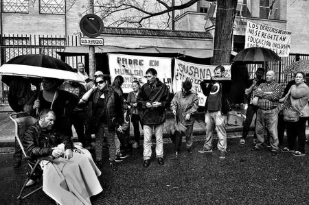 striker: Sevilla, Spain, 17th October 2015 - Demonstration in behalf of a hunger striker