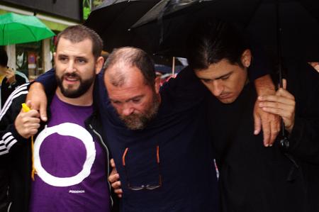 behalf: Sevilla, Spain, 17th October 2015 - Demonstration in behalf of a hunger striker