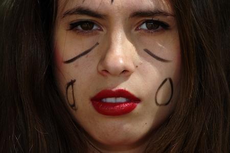 femenine: Painted face Stock Photo