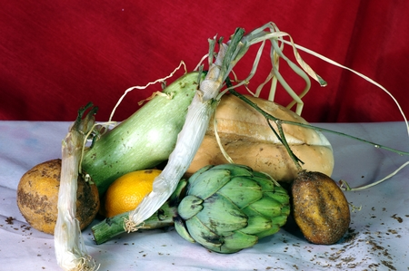 life loaf: Still life with string onion, artichoke and lemons