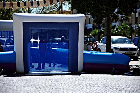 carmona: Carmona (Sevilla) Spain 9th April 2016 - Street market. Inflatable amusement Editorial