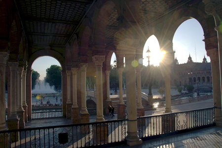 Detail of the Square of Spain in Seville