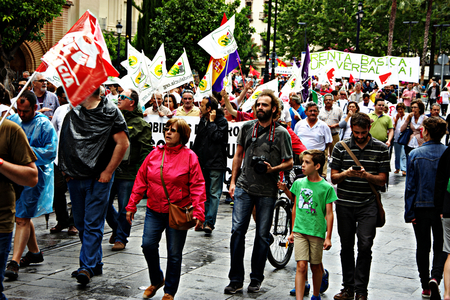 dignity: Seville 28th May 2016 - March of the dignity - a political protest