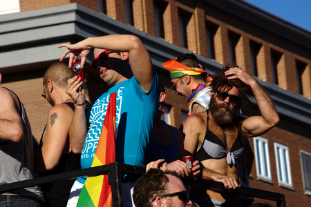gay girl: Seville, Spain, 24th June 2016 Parade on the Day of Gay Pride