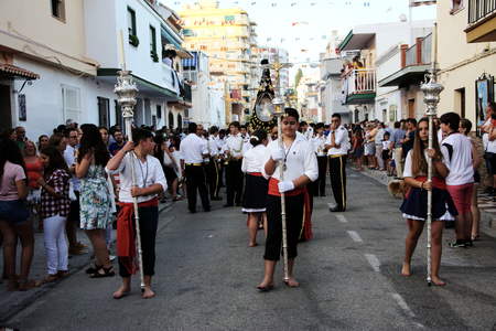 procession: Torre del Mar Malaga - 16th July 2016 - Procession in honor of the holy virgin, patron saint of the sailors