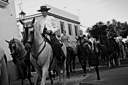 pilgrimage: Carmona - Seville - Spain 4th September 2016 - Procession and pilgrimage in honour of the patron saint. Horses