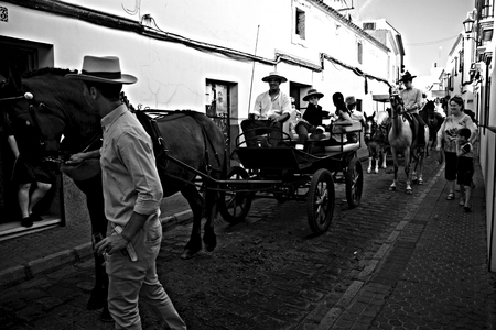 Carmona - Seville - Spain 4th September 2016 - Procession and pilgrimage in honour of the patron salnt. Horses and carts Редакционное