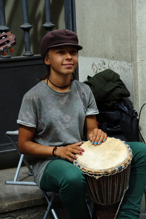 Seville, Spain, 14th Septemmber, 2016 -Very young musicians performing in the street Editorial