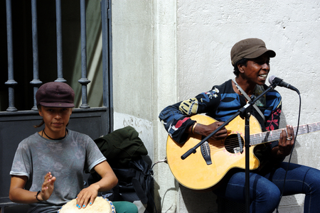 Seville, Spain, 14th September 2016 - very young musicians performing in the street