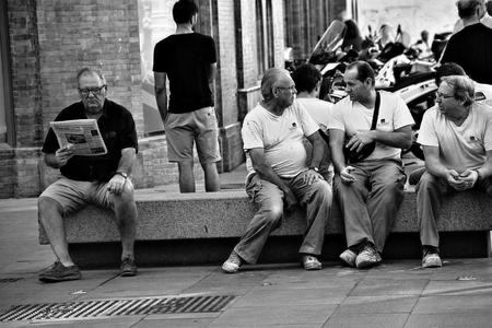 Seville, Spain, 27th September, 2016 -Seniors sitting outdoors