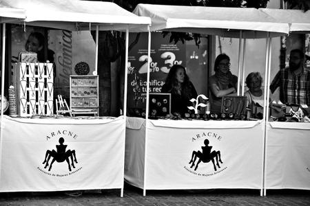 Granada, Spain, 1st October 2016, Urban life: Booths in street market