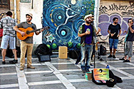 Granada, Spain, 1st October 2016, Urban life, street band performing Editorial