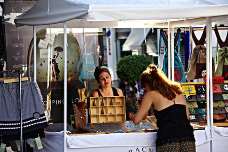 Granada, Spain, 1st October 2016 , Urban life: Ladies in a street market