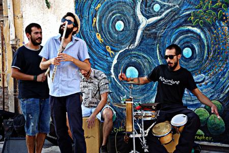 Granada, Spain, 1st October 2016 , Urban life: Street band performing in the street Editorial