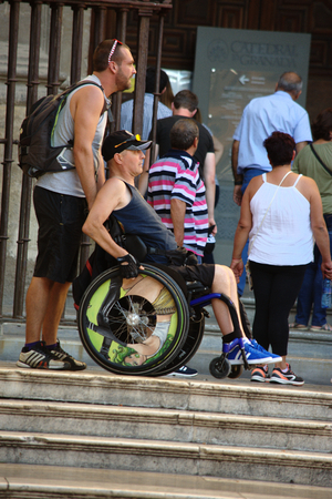 Granada, Spain, 1st October 2016 , Urban life: Invalid man in the street
